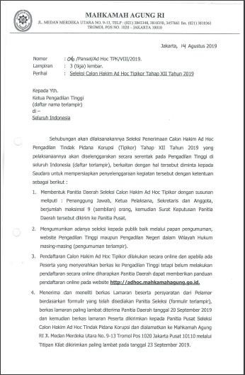 Seleksi Calon Hakim Ad Hoc Tipikor Tahap XII Tahun 2019