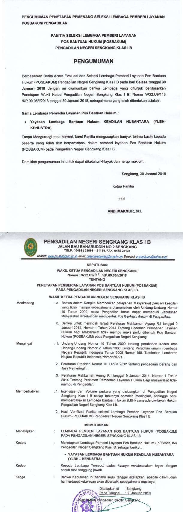Pengumuman Lembaga Penyedia Layanan Pos Bantuan Hukum