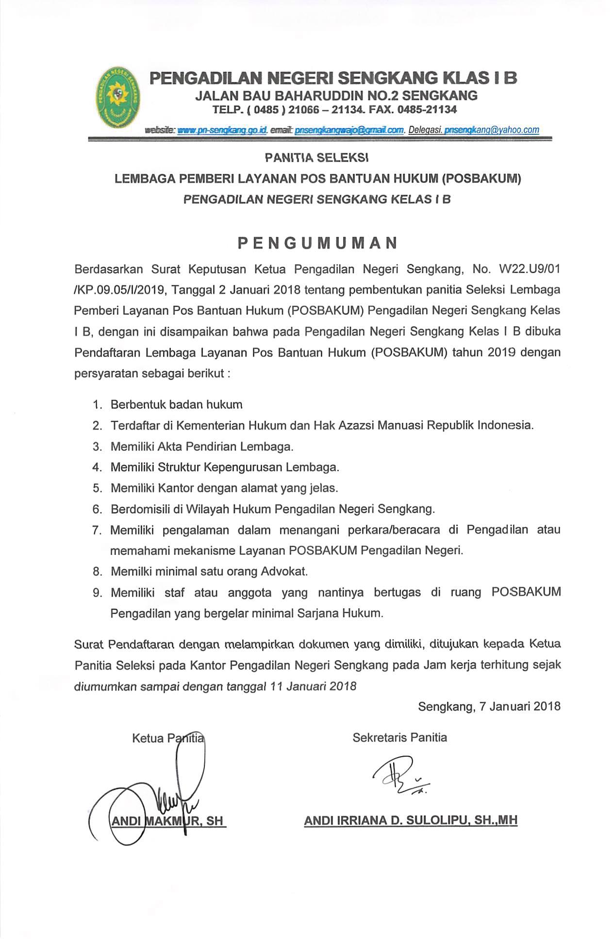 PENGUMUMAN SELEKSI POSBAKUM PN SENGKANG TAHUN 2019
