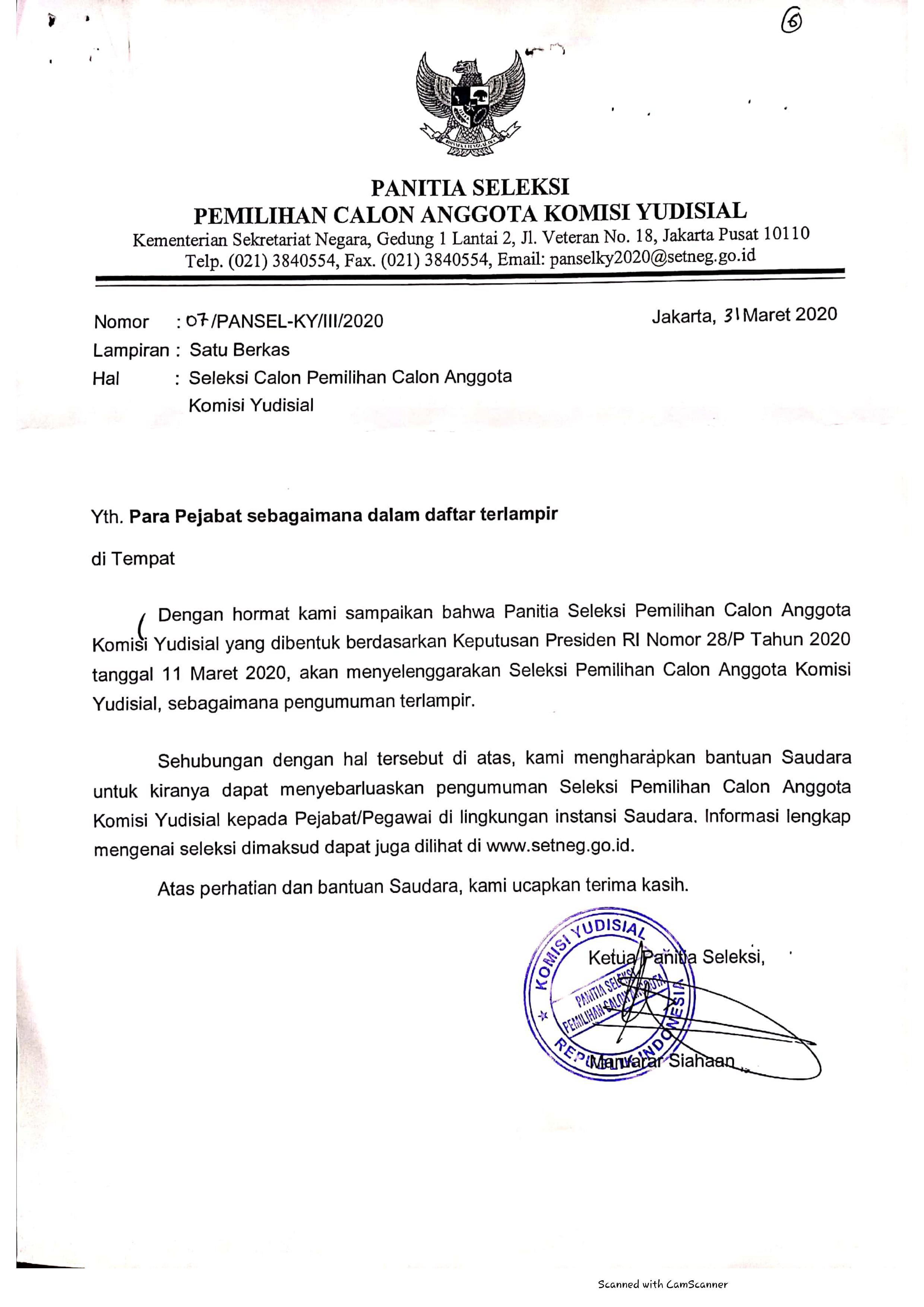 Seleksi Calon Pemilihan Calon Anggota Komisi Yudisial