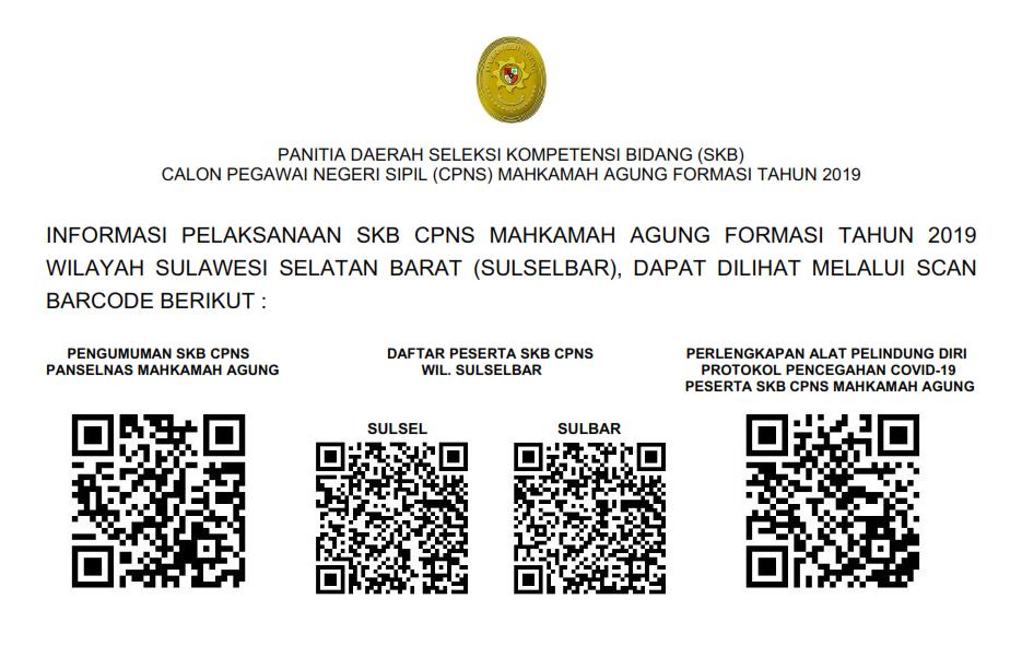 Pengumuman Pelaksanaan SKB Mahkamah Agung RI Tahun 2019 Wilayah Sulawesi Selatan Barat (SULSELBAR)